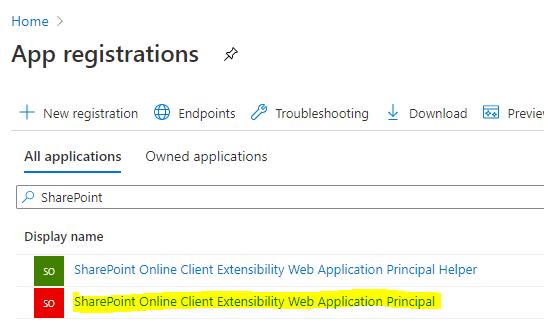App registrations screenshot