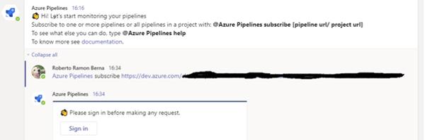 Azure Pipelines subscribe screenshot