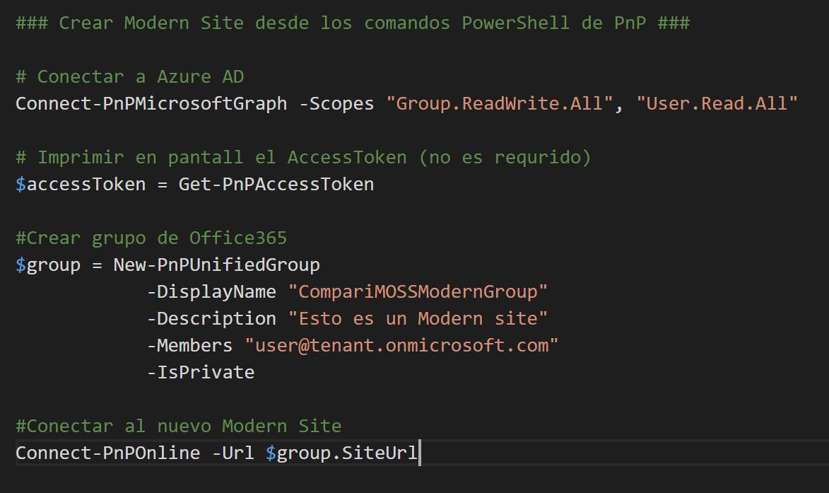 Create Modern Team Site PowerShell command
