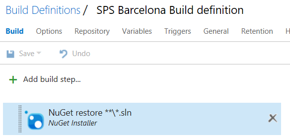 Create a new build definition in Team Services configure actions