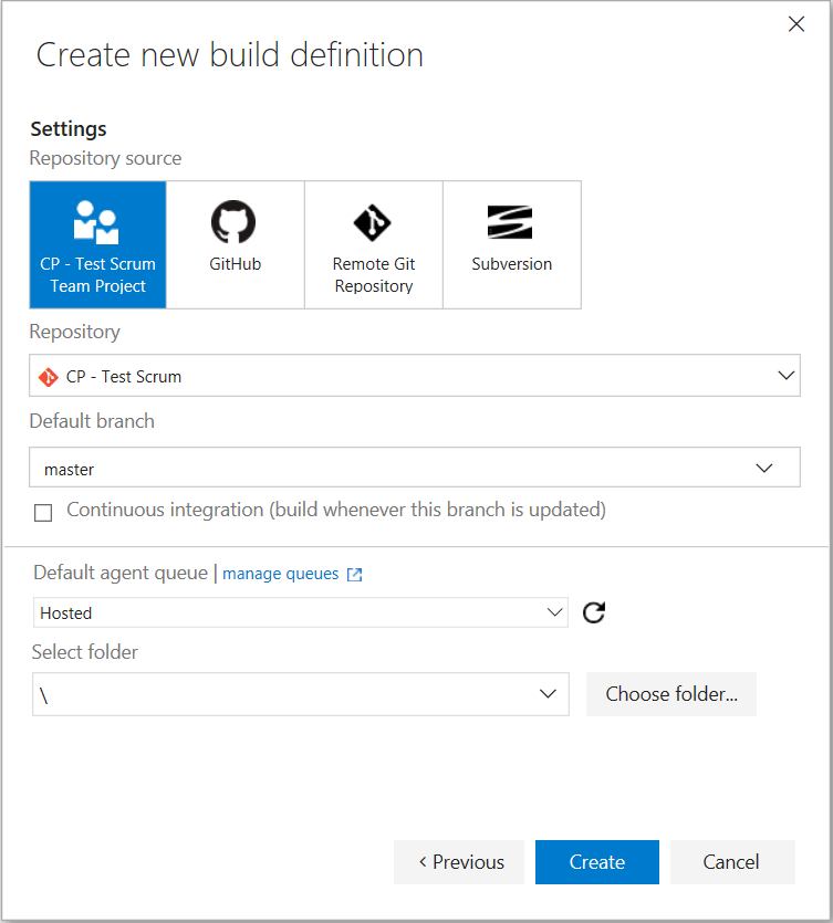 Create a new build definition in Team Services source control