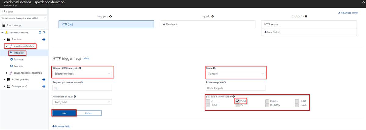 Functions App in Azure Configure function