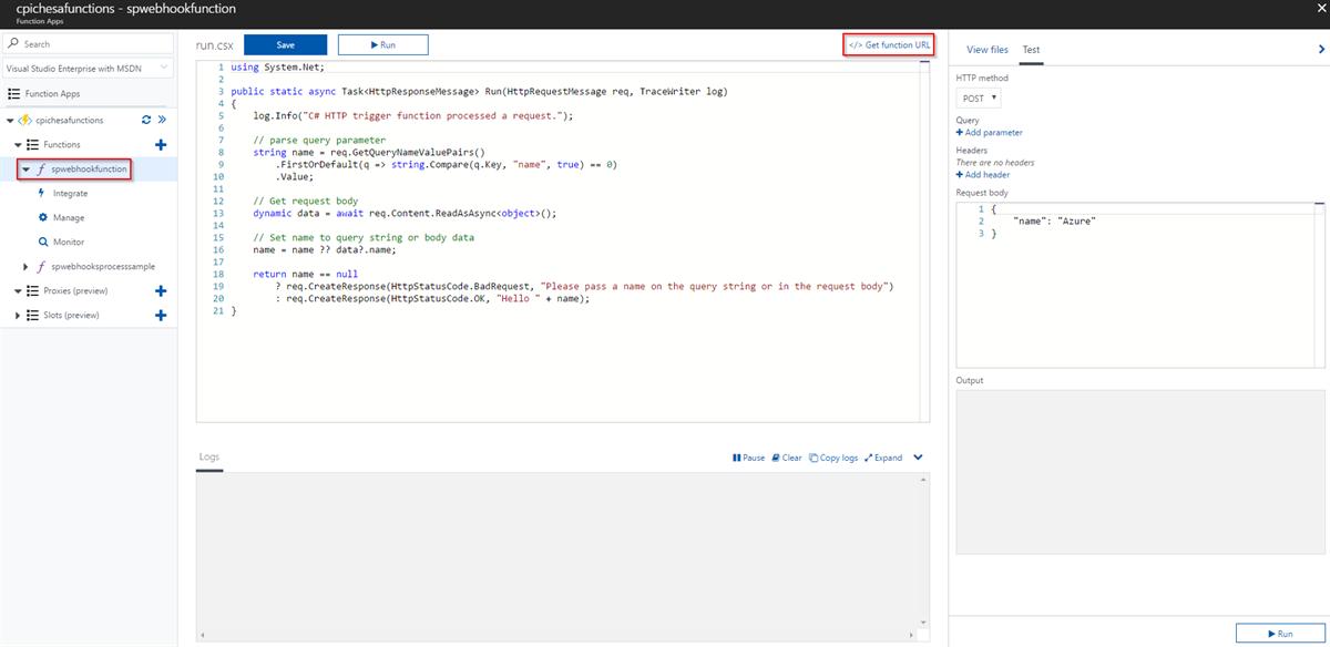 Functions App in Azure Get function URL