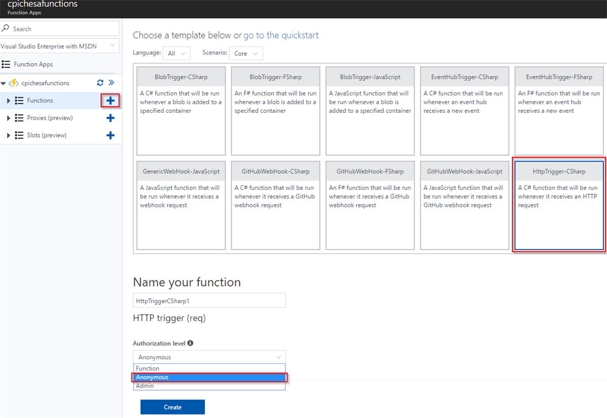 Functions App in Azure HTTP Trigger