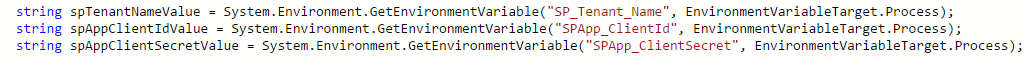 GetEnvironmentVariable code