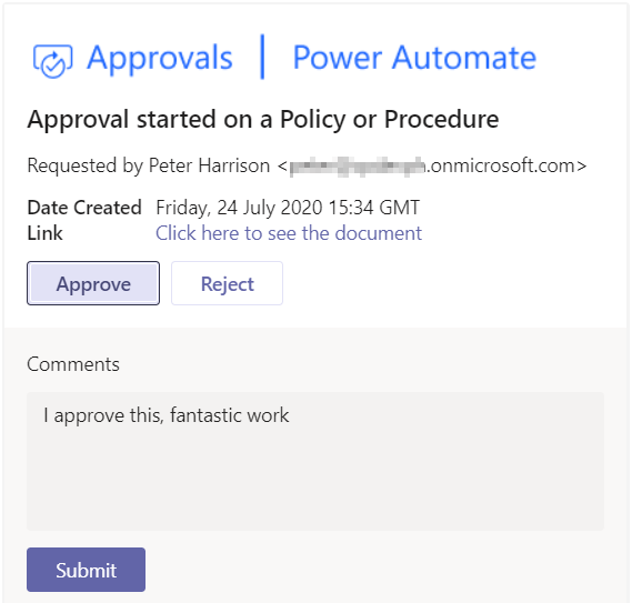 Power Automate Teams Approval Approve