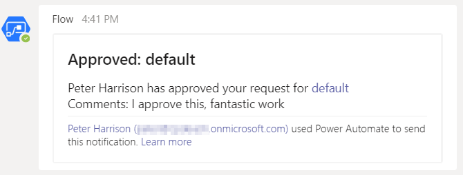 Power Automate Teams Approved default