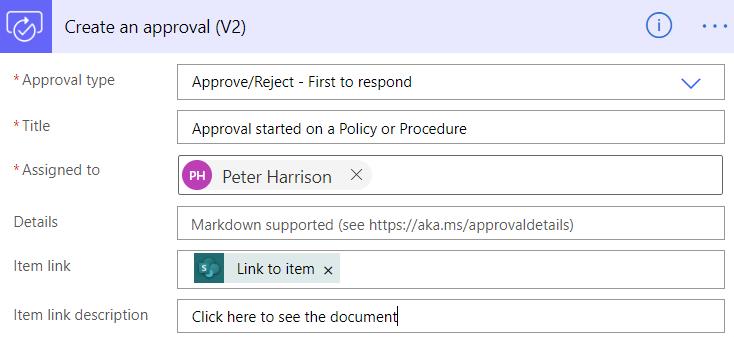 Power Automate Teams Create an approval V2