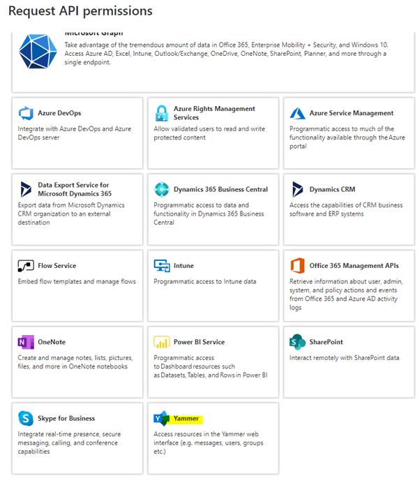 Request API permissions screenshot