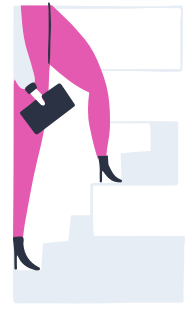 Illustration of person with device in hand stepping up
