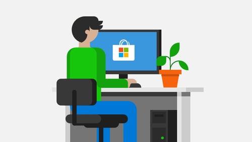 Microsoft man on computer illustration