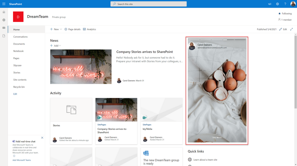 SharePoint stories webpart