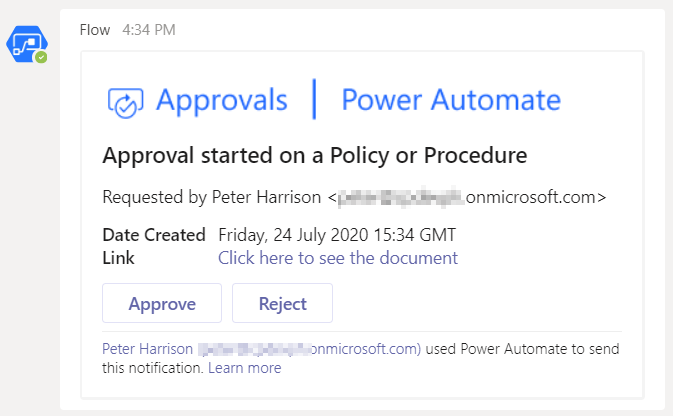 Power Automate Approval Workflow for a SharePoint Online item, for approval in Microsoft Teams