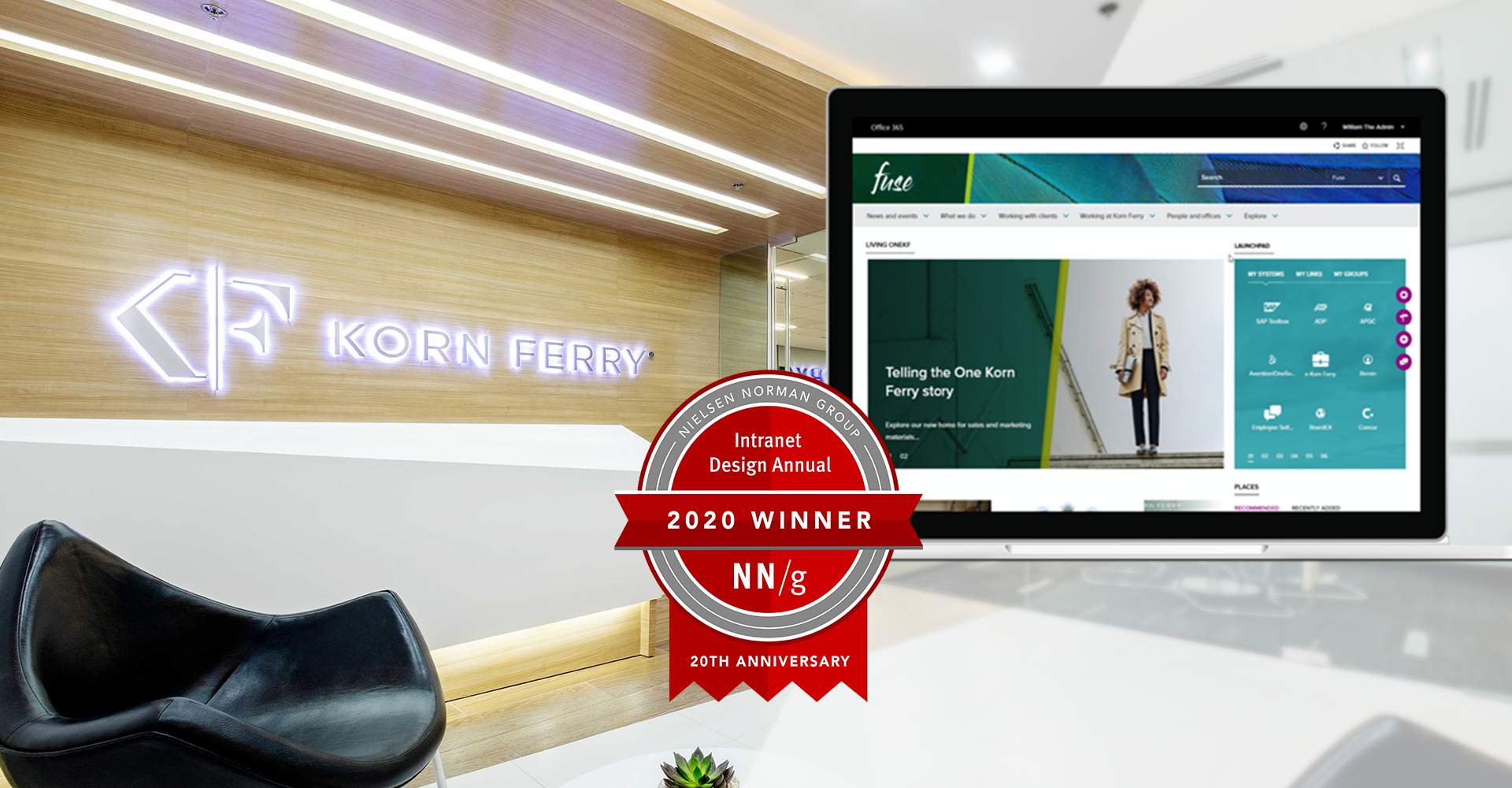 Korn Ferry office with NNG Intranet Design Annual Award overlay