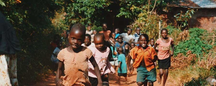Smiling kids running
