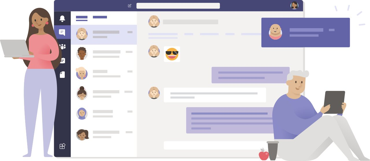 Microsoft Teams illustration with two people