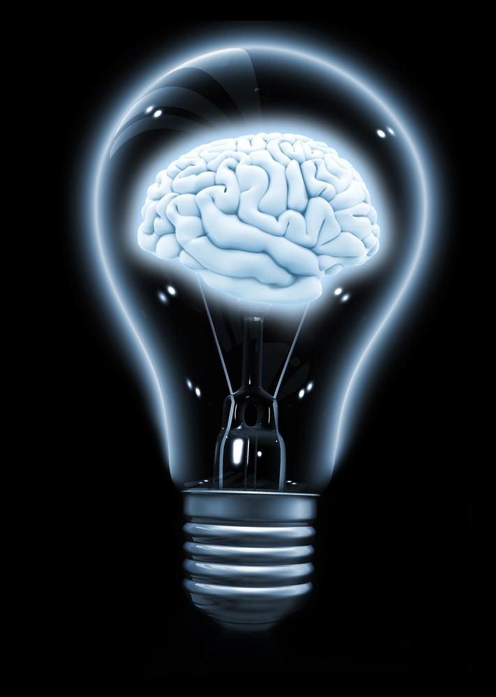 lightbulb with a 3D brain illustration