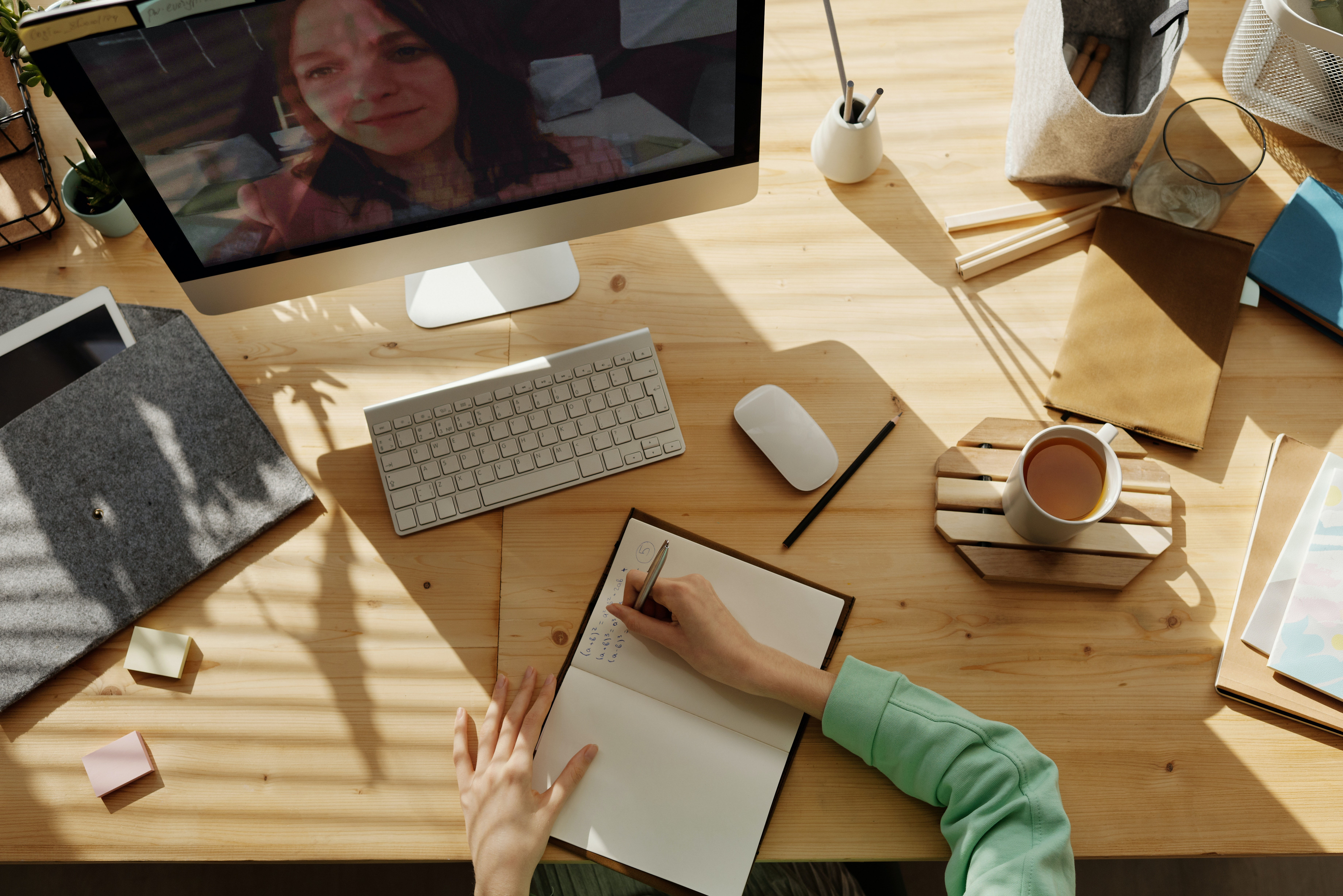 Person in an online meeting with colleague